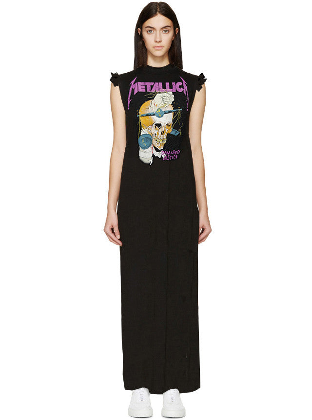 Damaged Justice Metallica Mock Neck T-Shirt Maxi Dress