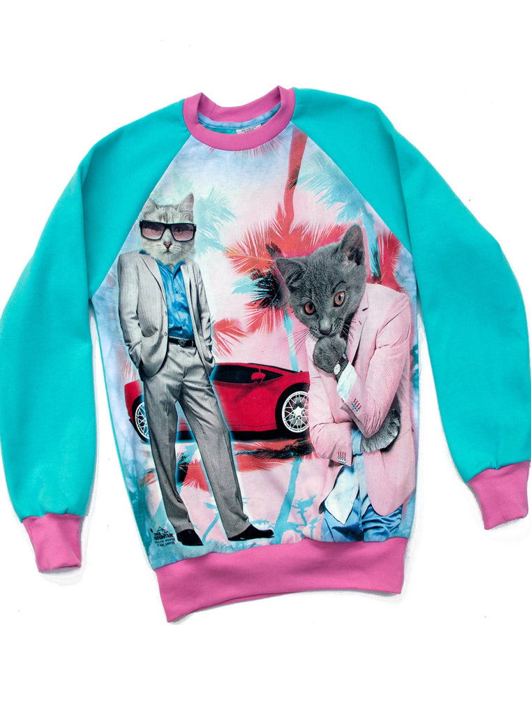 Cool Men Cats Miami Sweatshirt Top - IDILVICE Clothing