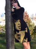 Mick Jagger Rolling Stones Brass Studded Long Sleeve Dress - IDILVICE Clothing - 6