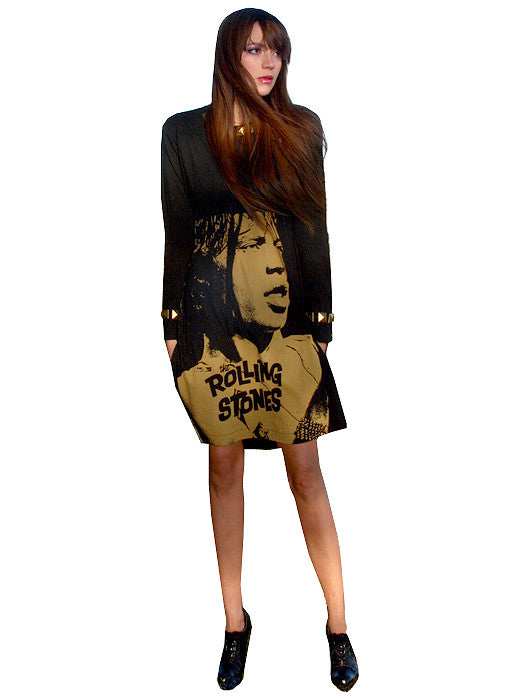 Mick Jagger Rolling Stones Brass Studded Long Sleeve Dress - IDILVICE Clothing - 1
