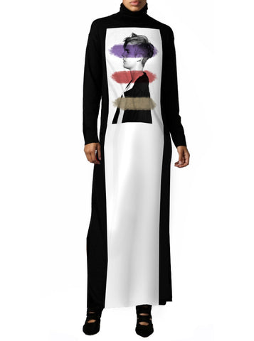 Bieber Profile Graphic Panel Maxi Mockneck Dress