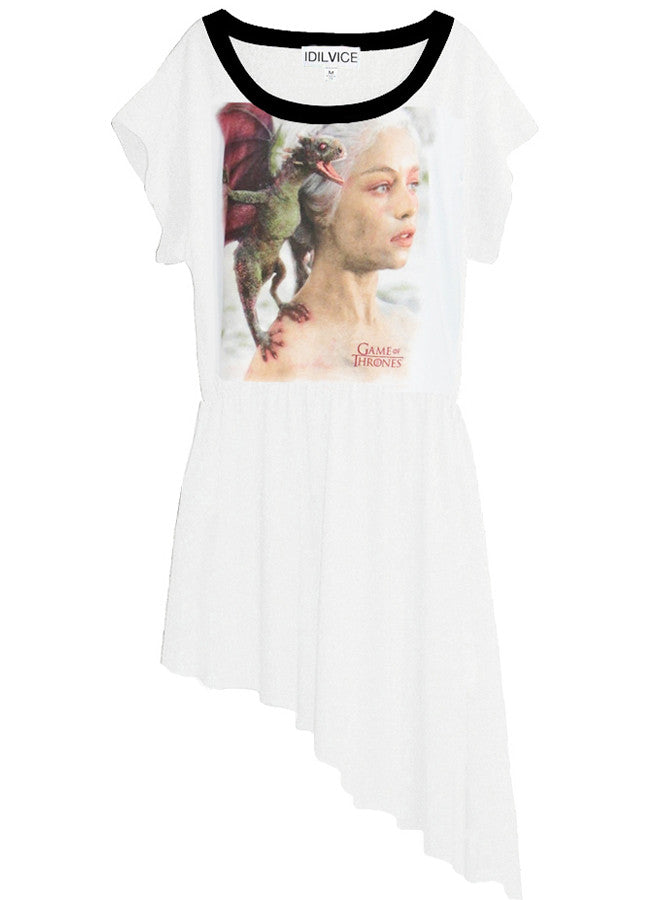 Mother Of Dragons Khaleesi Game Of Thrones Slanted Hem T-Shirt Top - IDILVICE Clothing