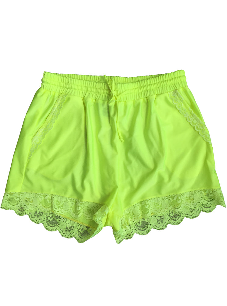 Neon Yellow High Waist Lace Trim Drawstring Spandex Shorts