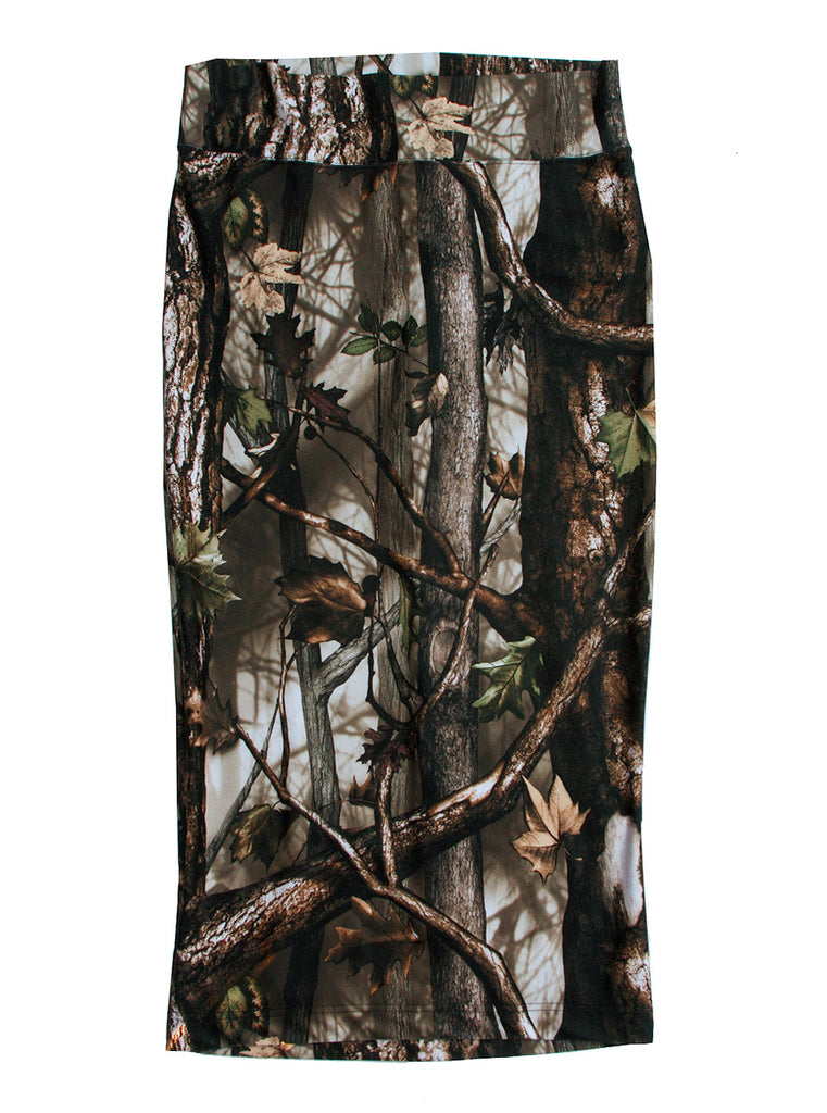 Oak Wood Forest Photo Print Midi Pencil Skirt - IDILVICE Clothing - 1