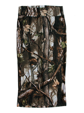 Oak Wood Forest Photo Print Midi Pencil Skirt