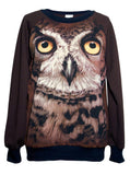 Brown Owl Face Print Sweatshirt Top - IDILVICE Clothing - 2