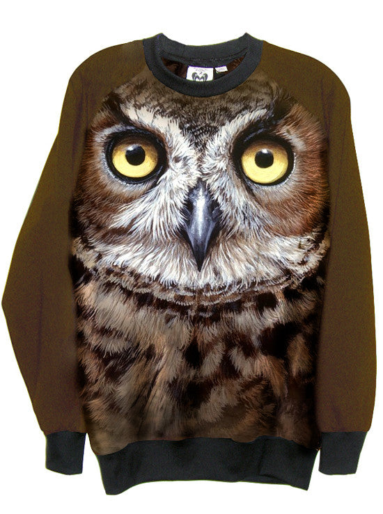 Brown Owl Face Print Sweatshirt Top - IDILVICE Clothing - 1