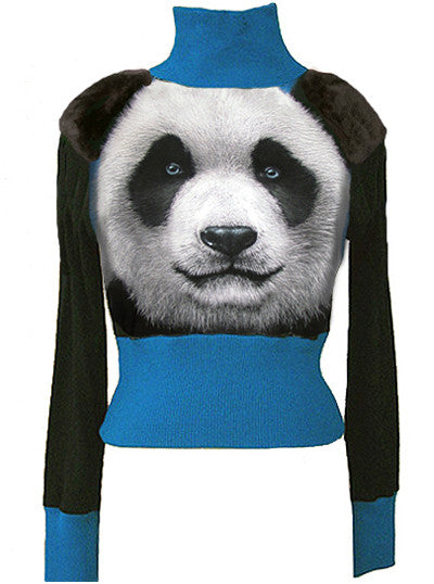 Panda Bear Fur Shoulder Turtleneck Sweater - IDILVICE Clothing