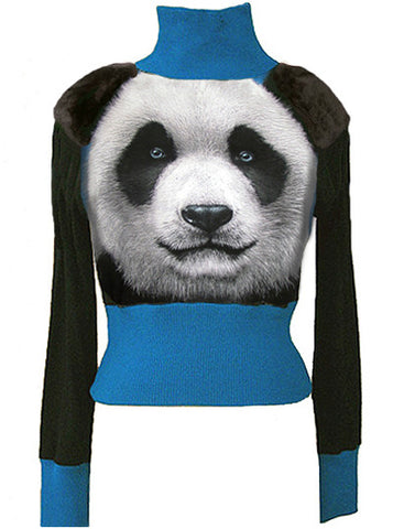 Panda Bear Fur Shoulder Turtleneck Sweater