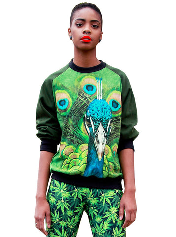 Peacock Print Sweatshirt Top