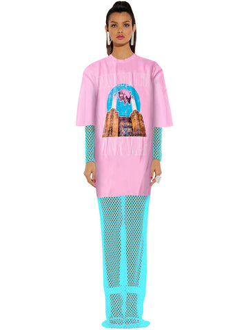 Pink Floyd Animals Maxi Mesh Oversize T-Shirt Dress