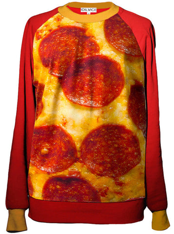 Pepperoni Pizza Two Tone Sweatshirt Top