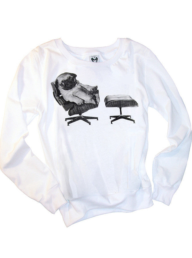 Pug Dog On Eames Chair Jumper L/S T-Shirt Top - IDILVICE Clothing