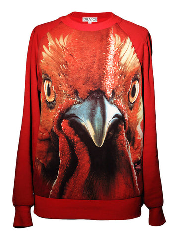 Red Rooster Face Sweatshirt Top