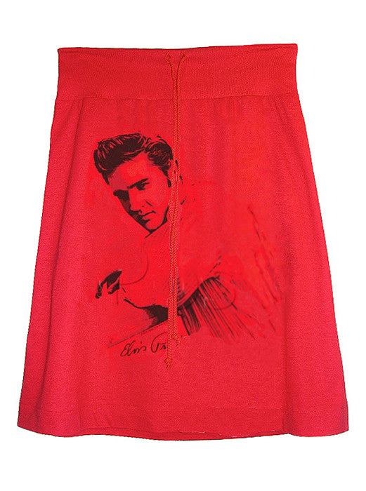 Elvis Presley Ranger Photo Printed Red Aline T-Shirt Skirt - IDILVICE Clothing - 1