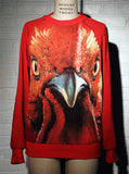 Red Rooster Face Sweatshirt Top - IDILVICE Clothing - 5
