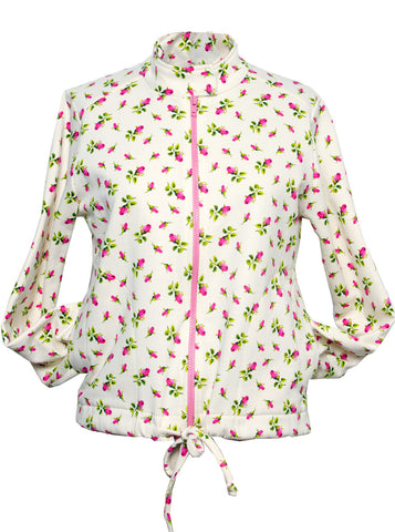 Tiny Rose Printed Sweatshirt Cardigan Jacket