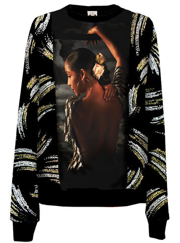 Sade Gold Silver Glitter Velour Crew Neck Sweater