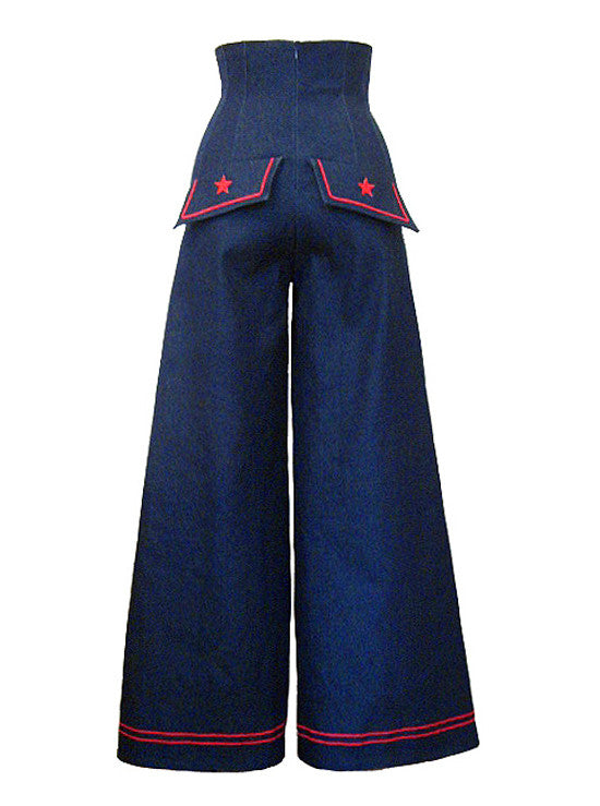 Sailor High Waist Wide Leg Stretch Denim Pants - IDILVICE Clothing - 1