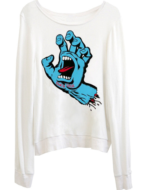 Santa Cruz Speed Wheels Screaming Hand Slouchy Sweater Jumper