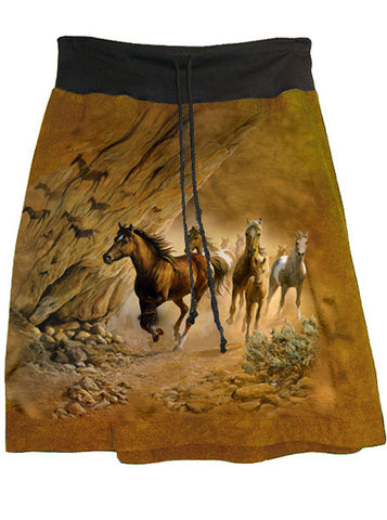 Wild Horses Save Passage A-Line Skirt