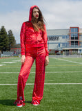 Hologram Sequins Velour Juicy Hoodie Zip Jacket Red