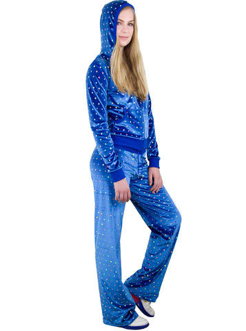 Hologram Sequins Velour Juicy Hoodie Jacket & Pants Set