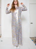 Shine Like Cash Money Print Sequins Red Carpet Maxi Tunic L/S Dress