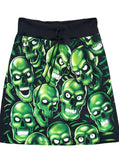 Glow In The Dark Skull Pile All Over Print A-Line Knee Length T-Shirt Skirt