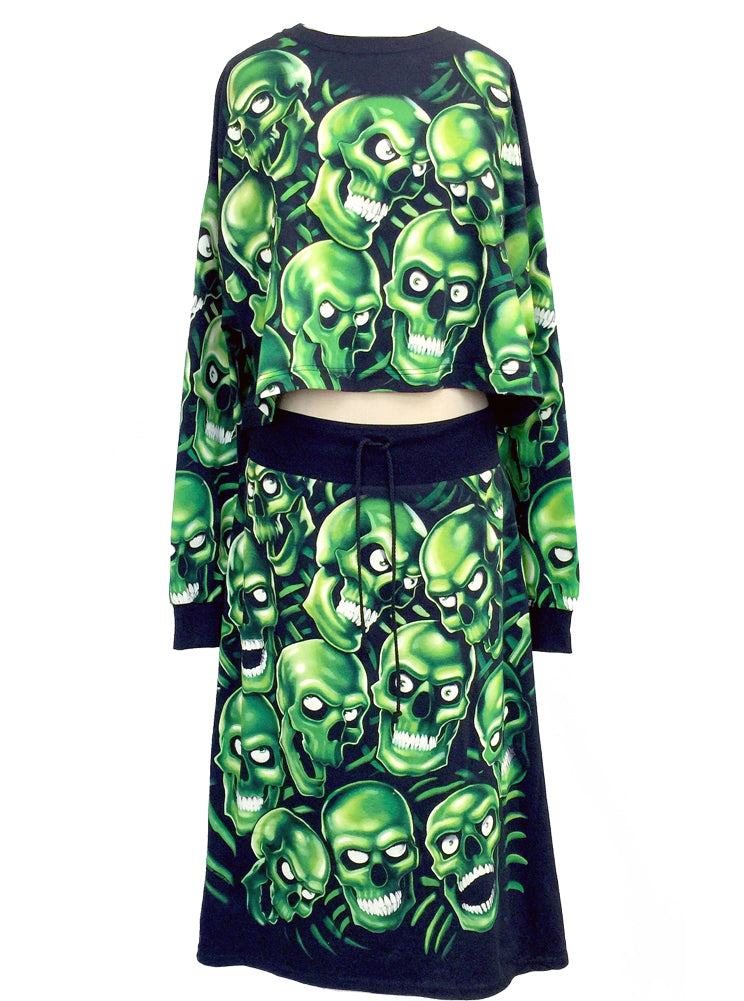 Skull Pile All Over Print Oversize Crop Top & Skirt Co-Ord Set Glow In The Dark