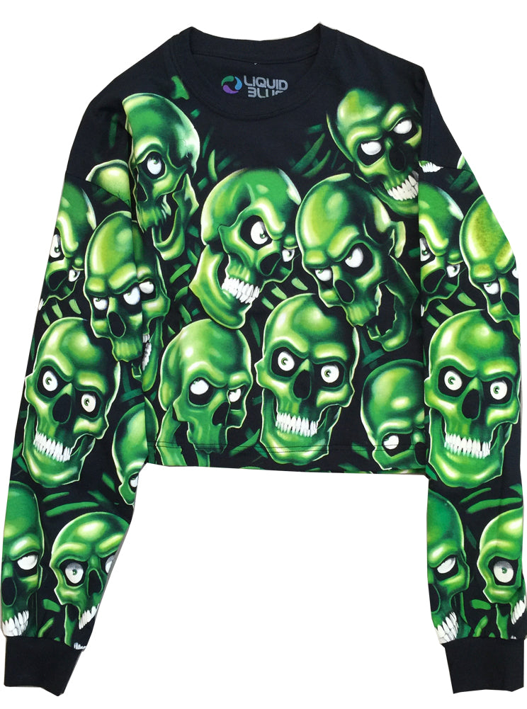 2b13680fa6758 Skull Pile All Over Print Oversize Crop Top Glow In The Dark – IDILVICE
