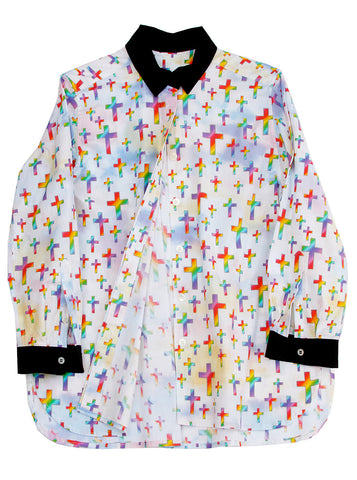 Sunday School Cross Women's Button Down Shirt