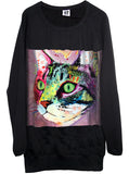 Cat Painting Oversize Sweatshirt Sweater Dress - IDILVICE Clothing - 1
