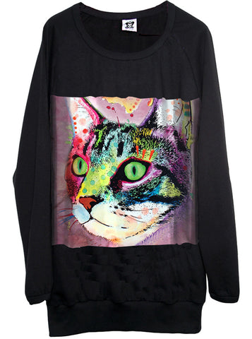Cat Painting Oversize Sweatshirt Sweater Dress