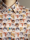 Kitten Faces Print Button Down S/S Shirt - IDILVICE Clothing - 3