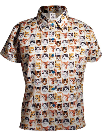 Kitten Faces Print Button Down S/S Shirt