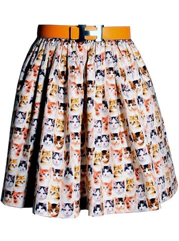 Tiny Kitten Faces Print Woven Gathered Skirt