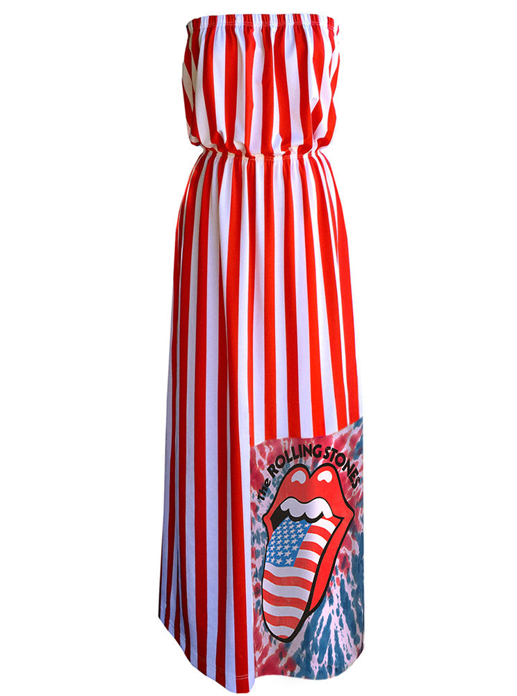 Rolling Stones US Flag Tongue Strapless Maxi Dress - IDILVICE Clothing