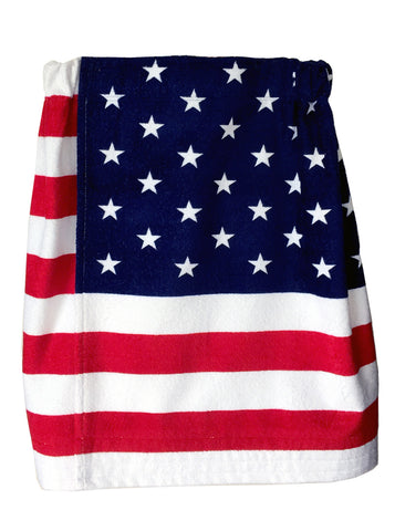 USA Flag Stars & Stripes Plush French Terry Towel Wrap Skirt