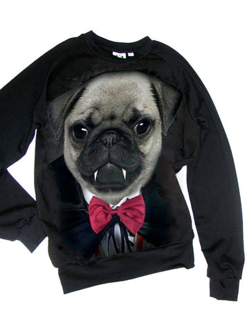Vampire Bow Tie Pug Dog Unisex Mens T-Shirt Sweatshirt