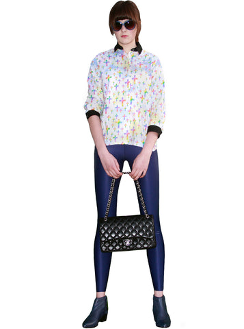 Navy Blue Wet Look Leggings