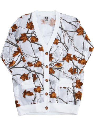 Winter Leaves Print Sweatshirt Cardigan Jacket
