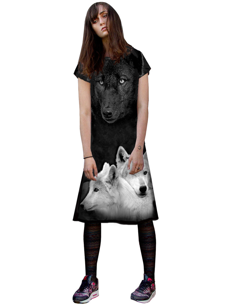Wolves Short Sleeve T-Shirt Dress - IDILVICE Clothing