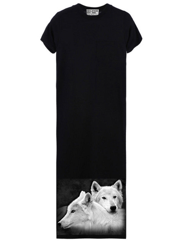 Wolves Siblings Women's Maxi T-Shirt - IDILVICE Clothing