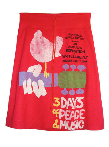 1969 Woodstock Poster Printed Cotton Skirt