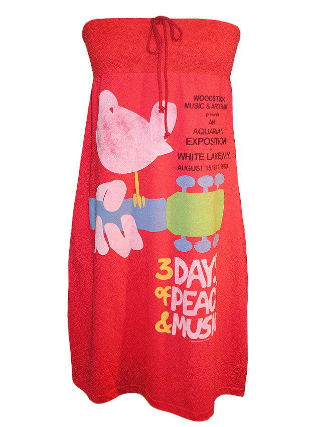 Woodstock Poster Strapless Tube Dress - IDILVICE Clothing - 1