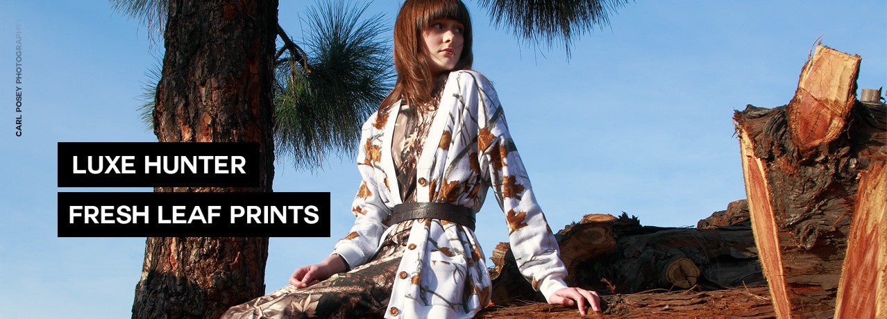 idilvice nature inspired fashions with prints of wood, oak trees and leaves, leaf and images of other vegetation