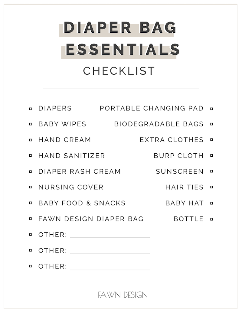 Fawn Design Printable Diaper Bag Essentials Checklist