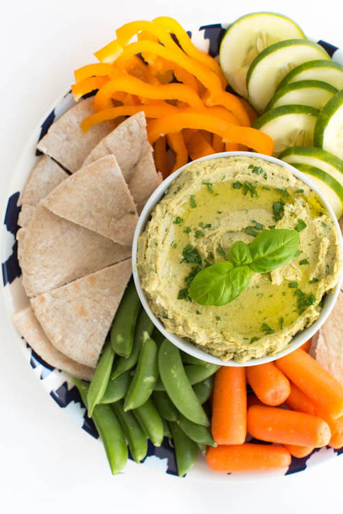Hummus and Veggies - Healthy Pregnancy Snacks - Fawn Design