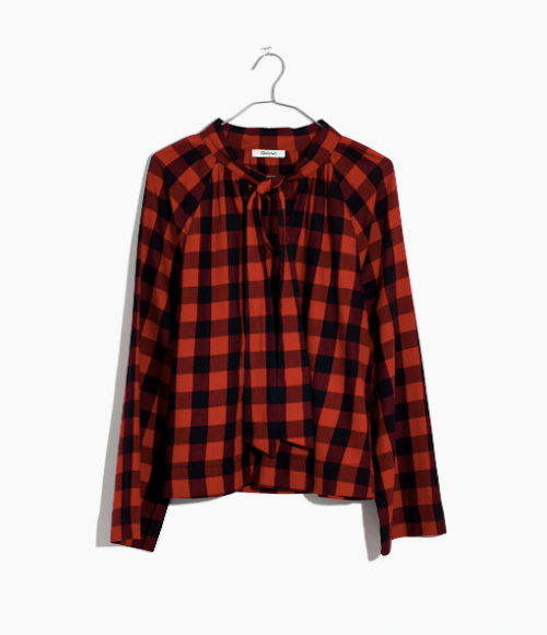 Fawn Design Holiday Gift Guide for Her - Madewell Tie-Front Buffalo Check Shirt